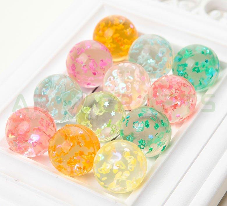 Bouncy ball -Jumping ball-Rubber Ball-Plastic ball-Soft ball-Toy ball-( Heart&star inside) (15)