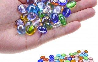 Gold glass beads, flat glass beads, glass gems, decoration, glass decoration,gemstone,glass pebbles