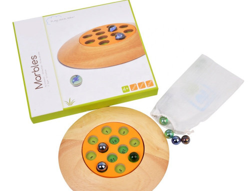 Marbles Game With Round Wooden Tray for Children Outdoor Play